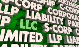 LLC Limited Liability Corporation Business Company Words 3d Render Illustration
